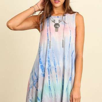 Good Vibes Dress - Sky Blue and Pink