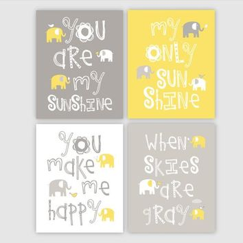Yellow and Gray Nursery Decor - Elephant Nursery Art You Are My Sunshine Art Elephant Gifts baby shower gift for baby boy or girl - set of 4