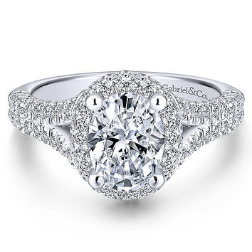 1.90cttw Oval Halo Diamond Engagement Ring with Pave Diamond Split Shank