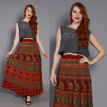 70s Indian Cotton WRAP SKIRT / 1970s Ethnic Batik ELEPHANT & Camel Paisley Print Maxi