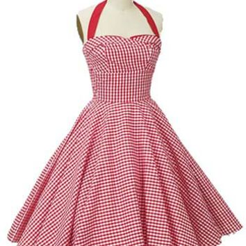 Blue Velvet Vintage - Retro Clothing - Trashy Diva Clothing - 50s Style Red Gingham Halter Dress