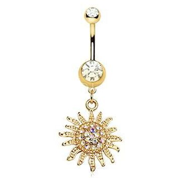 Gold Plated Shimmering Sunburst Dangle Navel Ring