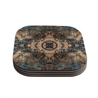 """Bruce Stanfield """"Zion 1178"""" Brown Blue Coasters (Set of 4)"""