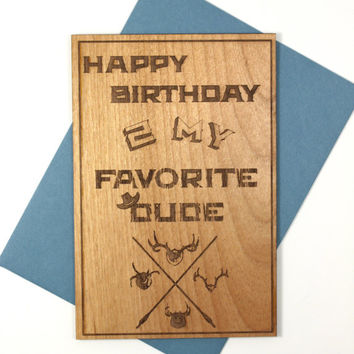 Birthday Cards for Him - Wooden Birthday Card - Western Theme