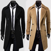 Solid Color Double-Breasted Notched Lapel Coat
