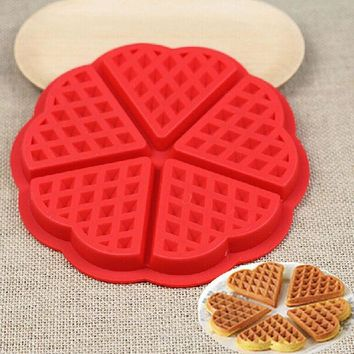 DCCKL72 Family Silicone Waffle Mold Maker Pan Microwave Baking Cookie Cake Muffin Bakeware Cooking Tools Kitchen Accessories Supplies