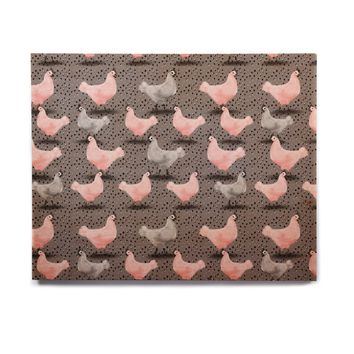 "Elena Ivan - Papadopoulou ""Chicken Pass"" Gray Pink Animals Pattern Painting Mixed Media Birchwood Wall Art"