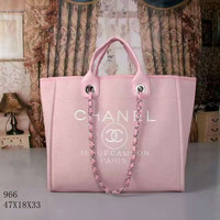 CHANEL Women Shopping Leather Metal Chain Crossbody Satchel Shoulder Bag pink