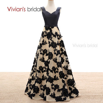 Vivian's Bridal A Line Evening Dresses Satin Flower Lace Long Formal Evening Gowns Party Dresses ED2301