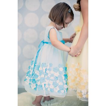 Tulle Overlay Aqua Blue Satin Dress with Dimensional Taffeta Flowers  (Baby Girls)