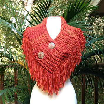 Red and Orange V-Neck Crochet Button Accent Two Tone Collar Fringe Scarf, red crochet fringe button scarf wrap