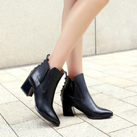 Women Ankle Boots Pointed Toe Studded High Heels Shoes Woman 2016 3570