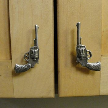 Gun Drawer Pull Pistol Cabinet Hardware Blue Bayer by billyblue22
