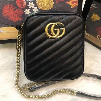 GUCCI Women Fashion Leather Chain Crossbody Small Bag Shoulder Bag
