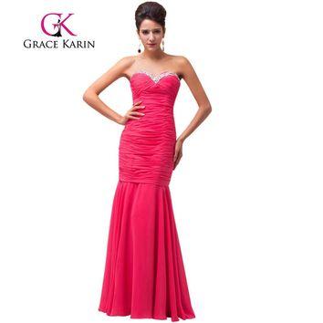 Grace Karin Mermaid Evening Dress Cheap Elegant Sweetheart Deep Pink Formal Prom Dress Long Party Gowns 2017 CL6060 Clearance