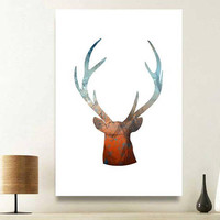 Deer wall art, unique wall art, cool posters, children wall art, deer antlers, woodland themed nursery, wall pictures, rustic wall decor