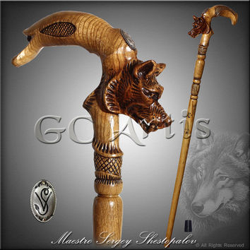 WOLF HEAD LIGHT walking stick cane staff solid wood handle handcarved crafted designer top art