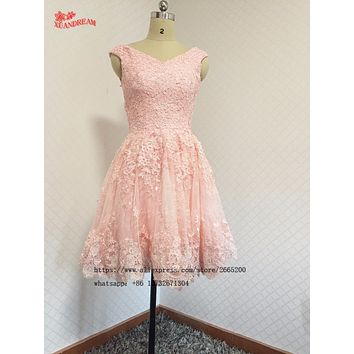 Short cocktail dresses vestidos de festa curto e elegante v neck formal puffy lace high quality pink cheap party gowns XD-25
