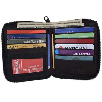 Zipper Bifold Hipster Mens Genuine Leather Zip Around Credit Card ID Holder Wallet