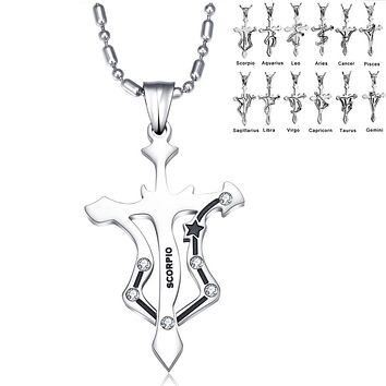 Stainless Steel Zodiac Pendant Necklace