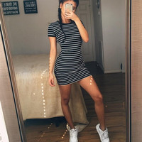 Summer Women Vintage Striped Pocket Wear Office Stretch Bodycon Dress Round Neck Striped Short-Sleeved Dress Vestidos De Festa
