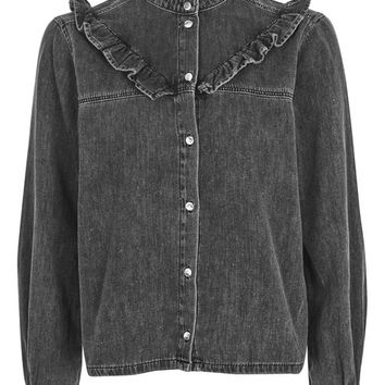 MOTO Denim Frill Shirt - Denim - Clothing
