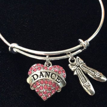 Pink Crystal Rhinestone Dance Charm with Ballet Slippers Silver Adjustable Expandable Wire Bangle Charm Bracelet Teacher Gift