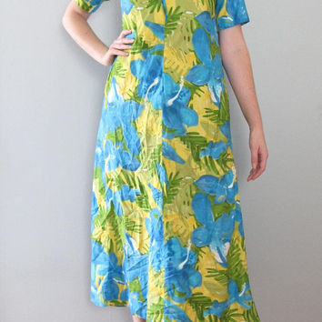 hibiscus hawaiian dress - 70s vintage maxi blue green yellow painterly abstract floral print long full skirt tiki lace bow house muumuu