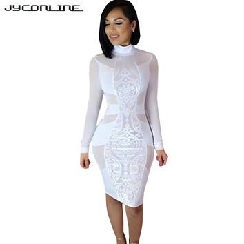 JYConline Long Sleeve Black Sexy Bandage Dress Women White Summer Dress Mesh Patchwork Dress Sheer Bodycon Party Dresses Vestido
