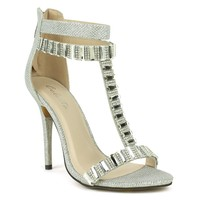 Celeste Wendy-05 T-strap Dress Sandal in Silver @ ippolitan.com