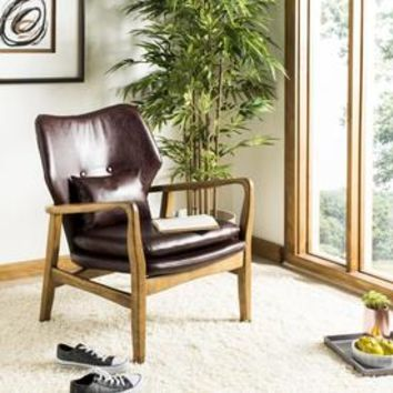Shop Safavieh Tarly Scandinavian Burgundy/Natural Faux Leather Accent Chair at Lowes.com
