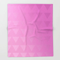 Pink Fleece Throw Blanket -Triangle Art - Ombre Pink -Made to Order