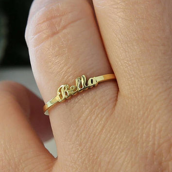 Tiny Gold Name Ring-Name Ring-Gold Jewelry-Name jewelry-Bridesmaid Gift-Personalized Gift-Personalized Ring-Personalized Jewelry