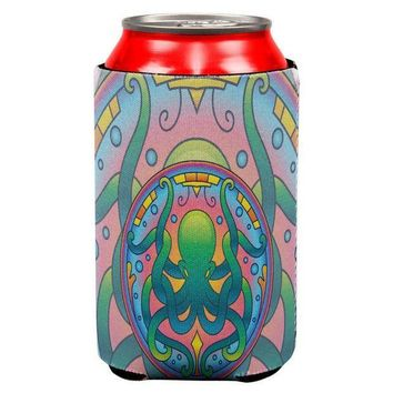 CREYCY8 Mandala Trippy Stained Glass Octopus All Over Can Cooler