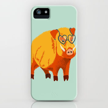 Benevolent Boar iPhone Case by borianagiormova