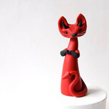 Red Devil Cat Poupette by Bonjour Poupette