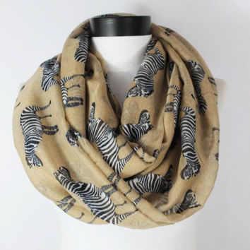 cream zebra scarf,infinity scarf, scarf, scarves, long scarf, loop scarf, gift