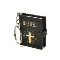 Mini Bible Keychain English HOLY BIBLE Religious Christian Jesus Gold Black Colors SM6