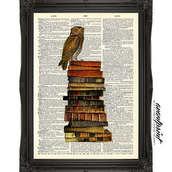 Owl Be Reading For A While Collage Print on an Unframed Upcycled Bookpage