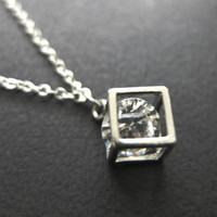 CHRISTMAS SALE Silver Square Necklace Silver cube necklace Swarovski necklace Cute necklace Gift mom Gift best friend Birthday Gift sister