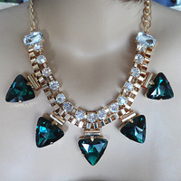 Green glass gem gold white rhinestone gold statement necklace,bib necklace, Triangle necklace ,bridesmaid gifts,wedding Party