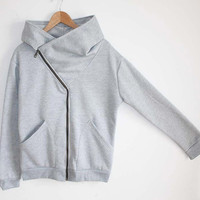 Grey Long Sleeve Oblique Zipper Sweatshirt - Sheinside.com