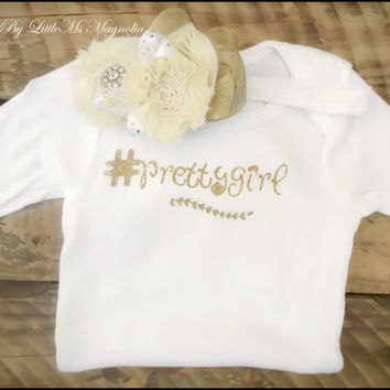 "White and Gold Baby Girl Onsie and Headband Set, "" #prettygirl "",  Infant Photo Prop"