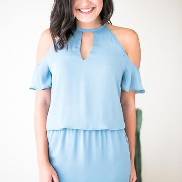 Play It CoolCold Shoulder Dress in Baby Blue