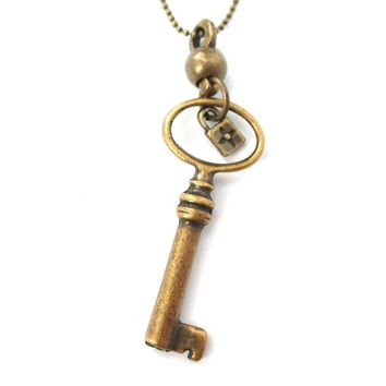 Classic Skeleton Key Pendant and Tiny Lock Charm Necklace in Bronze | DOTOLY