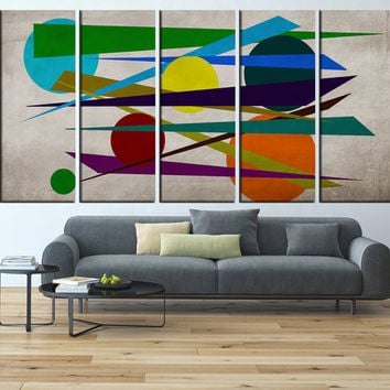 Geometric Wall art print Canvas, large abstract wall Art, minimalist canvas print, extra large wall art, mid century canvas print t591
