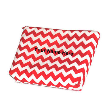 Personalized Red and White Chevron Cosmetic Bag // make up pouch // Zippered pouch // Polka Dot Lining