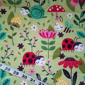 "Floral flannel fabric with ladybugs snail bee bumblebee quilt cotton print sewing material 35.75"" quilters crafting project decor"