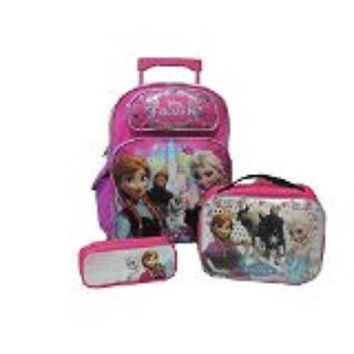 "Frozen 16"" Rolling Backpack,Frozen Lunchbox,and Frozen Pencil Pouch Combo-New!"