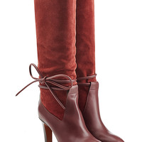 Chloé - Suede and Leather Boots with Side Tie